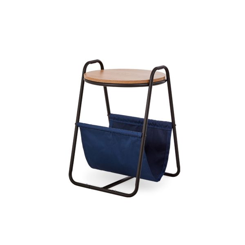 Nani Side Table Acacia Top Dark Blue Fabric